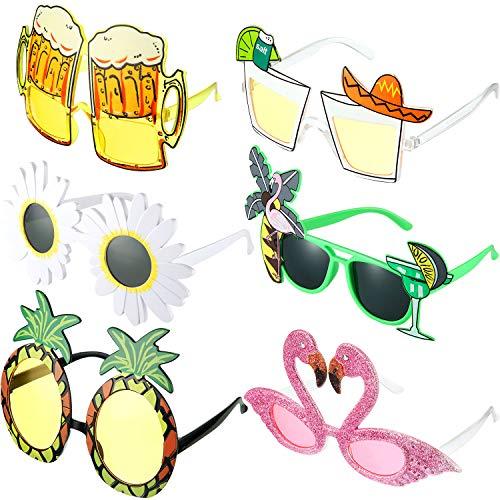 Gejoy 6 Paar Neuheit Party Sonnenbrille Hawaiian Tropisch Sonnenbrille Kreative Lustige Kostüm Brille Strand Party Brillen Foto Booth Requisiten für Kinder Erwachsene