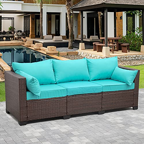 Patio PE Wicker Couch - 3-Seat Outdoor Brown Rattan Sofa Seating Furniture with Turquoise Cushion