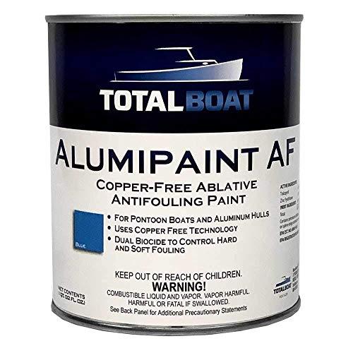 TotalBoat AlumiPaint AF Copper Free Aluminum and Pontoon Boat Bottom Paint (Blue, Quart)