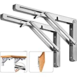 2PCS Folding Wall Mounted Shelf Bracket, Super Load Heavy Duty Stainless Steel Collapsible Shelf Brackets for Table, Space Saving DIY Bracket (2, Foldable 12')