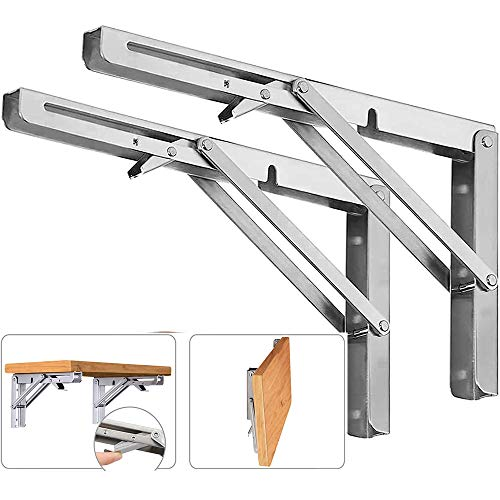 2PCS Folding Wall Mounted Shelf Bracket, Super Load Heavy Duty Stainless Steel Collapsible Shelf Brackets for Table, Space Saving DIY Bracket (2, Foldable 16')
