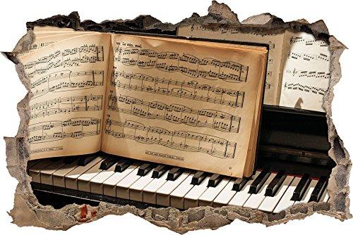Pixxprint 3D_WD_2833_92x62 Klavier mit Notenpapier Wanddurchbruch 3D Wandtattoo, Vinyl, bunt, 92 x 62 x 0,02 cm