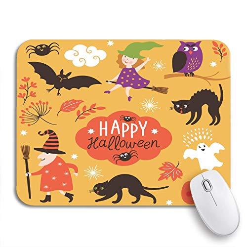 NA Tappetino per Mouse da Gioco Strega Arancione di Halloween Carino Giallo Ottobre Spider Spider Antiscivolo Supporto in Gomma Mousepad per Notebook Computer tappetini per Mouse