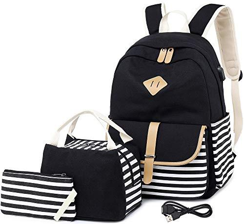 Canvas Rucksack Schultaschen für Mädchen College Laptop Rucksack mit USB Ladeanschluss Student Rucksack Reise Casual Daypacks passt 15,6 Zoll Notebook 3 Packs(schwarz)