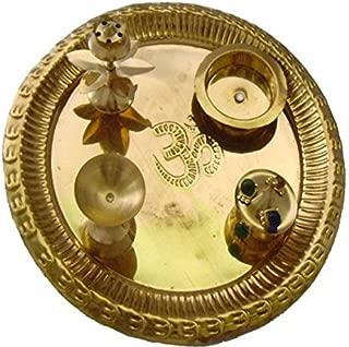 SWS Diwali Gift Item Gold Plated Brass Pooja Thali Set(5 Pieces)