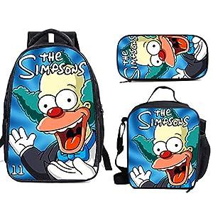 5114hfhojaL. SS300  - The Si-mps-ons - Juego de mochila escolar con bolsas de almuerzo y estuche ligero para viaje para niños y niñas