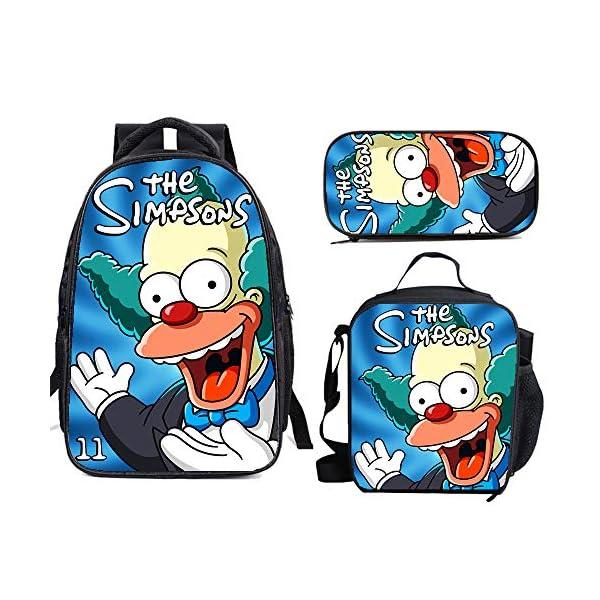 5114hfhojaL. SS600  - The Si-mps-ons - Juego de mochila escolar con bolsas de almuerzo y estuche ligero para viaje para niños y niñas