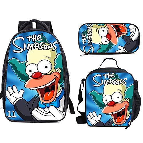 5114hfhojaL - The Si-mps-ons - Juego de mochila escolar con bolsas de almuerzo y estuche ligero para viaje para niños y niñas