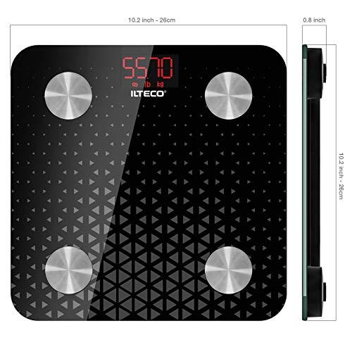 5114iHzSPBL - ILTECO Báscula de Baño Grasa Corporal y Muscular Inteligente, Báscula de precisión digital con Tecnología Bluetooth, APP 13 análisis (IMC, Peso Óseo, Masa, Agua etc) conexión Android e iOS Negro