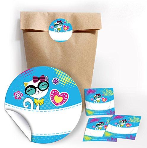 JuNa-Experten 12 bolsas de fiesta + 12 pegatinas para regalos o obsequios en cumpleaños infantiles, gatos, cumpleaños, fiestas infantiles, bolsas de papel para envolver regalos o bolsas de regalo