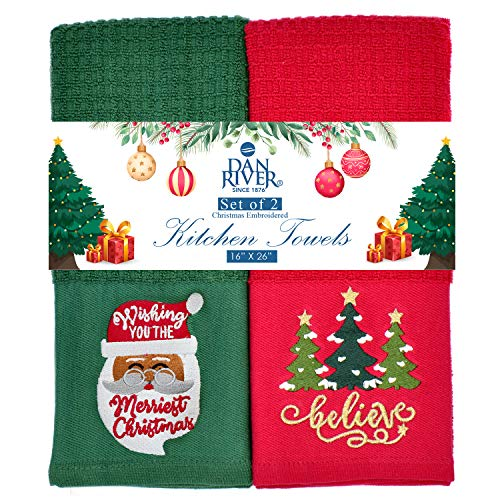 100% Cotton Kitchen Towels-Christmas Theme Towels-16x26 inches-Holiday Tea Towels-Decorative Oversized X'mas Towels for Kitchen-Embroidered Christmas Gifting Towels-Gift Set-Pack of 2 (Red & Green)