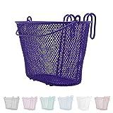 P4B Happy Kids - Cesta de bicicleta para niños en color lila   cesta delantera   malla estrecha   malla de acero   con asa de transporte