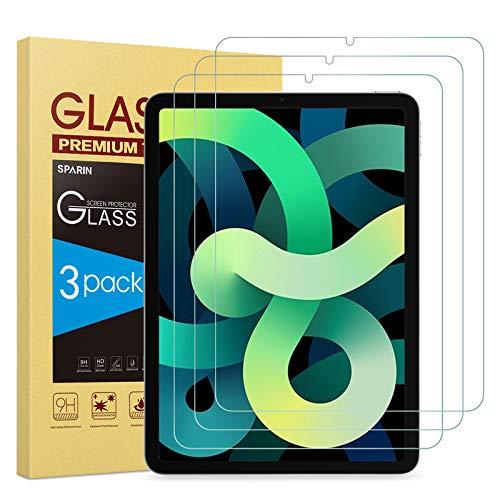 SPARIN 3 Pack Protector de Pantalla Compatible con iPad Air 4 generacion (2020 Modelo, 10.9 Pulgadas), Vidrio Templado Compatible con Face ID