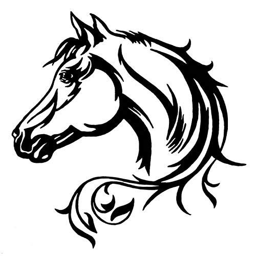 Pegatinas para coche, diseño de cabeza de caballo, reflectante, color negro