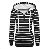 Sweat à Capuche Femmes Manches Longues Chemisier Sweatshirt Imprimé Rayures Tops Hoodie Pullover Blouse Chic Tunique Chemise Sweat-Shirt Kangrunmy