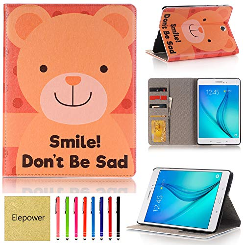 Galaxy Tab S2 8.0 Case, Elepower Cartoon Design Slim Lightweight Folio Stand Leather Smart Cover with Auto Sleep/Wake for 2015 Samsung Galaxy Tab S2 Tablet (8.0 inch, SM-T710 T715 T713) Smile Bear