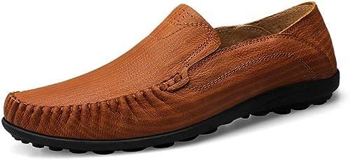 Chaussures Bateau Homme Coutures Hommes Mocassins En Cuir Antidérapant Pour Hommes à La Main à Coudre à La Conduite Mocassin De Conduite Slip Sur Mocassins Chaussures De Bateau En Cuir Véritable été S