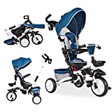 Baby Tricycle 6-in-1 Foldable Steer Stroller Learning Bike w/Detachable Guardrail Adjustable Canopy Safety Harness Storage Bag Brake Shock Absorption Design for Kids Boys Girls Blue