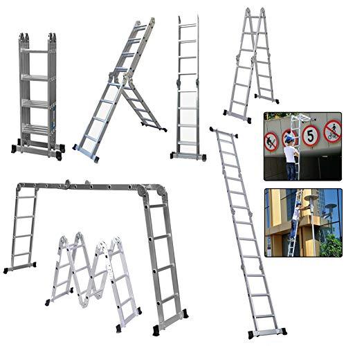 Multi-Purpose Aluminium Folding Ladder, 4.7M DIY Extendable Telescopic...