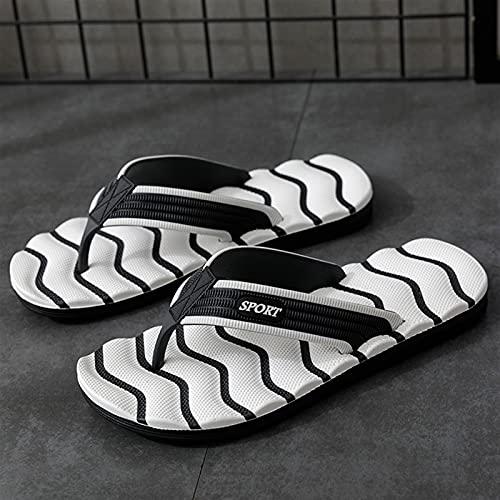 Moda azul masaje zapatillas hombres chanclas chaps tamaño grande 46 diapositivas casuales hombres sin deslizamiento playa zapatillas de interior hombres ( Color : White Black 8069 3 , Shoe Size : 43 )
