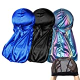 MAXTID Silky Durag for Men 360 Waves Cap Wide Straps, Doo Rags 3 Pack with Extra Long Ties Black, Blue, Laser Blue and Award 1 Mesh Wave Cap