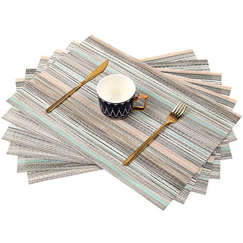 Sayopin Placemats, Placemats for Dining Table Set of 6 , Heat-Resistant Non-Slip Woven Place Mats for Kitchen Table Mats Vinyl Stain Resistant Christmas Placemats (6,Blue Stripes)