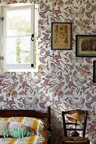 Pervenche papier peint Motif fleurs et papillons - Papier Peint Autocollant Amovible Sticker Mural Papier peint - Pétunia - Pervenche Fleur et papillon, 53 Cm wide by 243 Cm Tall