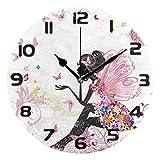Hunihuni Reloj de pared con diseño de hadas y mariposa, silencioso, para dormitorio, sala...