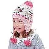 Qchomee - Gorro de punto con pompones para niñas con orejeras para niños de 4...