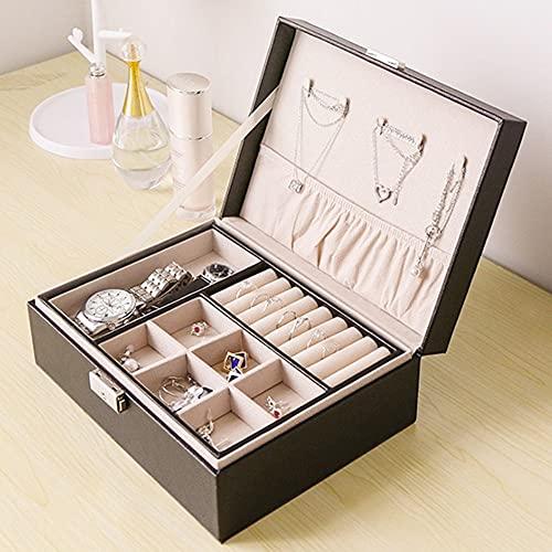 MZXUN Caja de joyería grande de poliuretano de viaje, organizador de collar, pulsera, pendientes, caja de almacenamiento de cuero portátil, caja de joyería con cremallera (color negro)