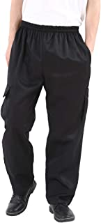 Men's and Women's Black Baggy Chef's Pants Floral Restaurant Work Pants and Kitchen Uniform Loose Cargo Style Chef Pants