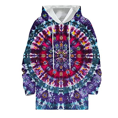 QWEEI Sudadera con Capucha Estampada en 3D para Hombre, suéter Informal de otoño, Sudadera con Capucha de Cuello Redondo Suelto con Grafiti con Efecto Tie-Dye arcoíris,E,L