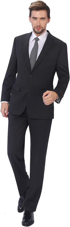 P&L Men's 2-Piece Classic Fit Wool Blend Suit Single Breasted Two Button Jacket & Pants Set