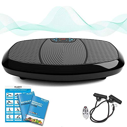 Bluefin Fitness Dual-Motor 3D Vibrationsplatte | Extra Große Anti-Rutsch-Oberfläche | Bluetooth Lautsprecher | Fett Abbauen und Body Shaping von Hause | UK Design (Mattschwarz)
