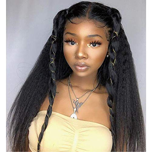 4X4 Wigs With Closure Human Hair 22 Inch Yaki Straight Lace Wig Glueless Free Part Wet And Wavy 8A For Women Natural Hairline Long Brazilian Unprocessed Remy Hair 1B
