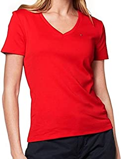 Womens V-Neck Solid Color Logo T-Shirt