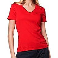 Tommy Hilfiger Womens V-Neck Solid Color Logo T-Shirt