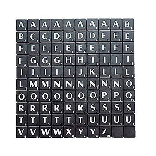 Trimming Shop Alphabet-Steine 100 Stück 1,9 cm  schwarz mit weißen Buchstaben – perfekt als Ersatz, für Kunst und Handwerk, Brettspiele, Scrapbooking, Rechtschreibung, Wandkunst, Puzzle Schwarz