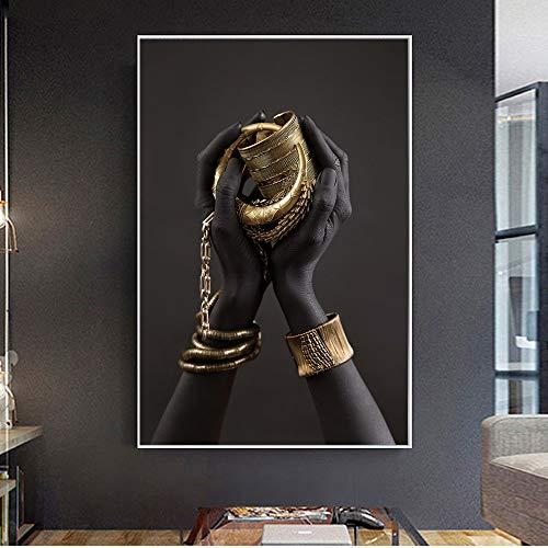 Pulsera de mano negra y dorada, pintura al óleo sobre lienzo, carteles e impresiones, Cuadros, imágenes artísticas de pared para sala de estar 60x80 CM (sin marco)