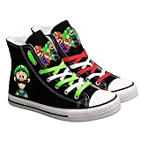 N-Brand Cute Super Mario Print Sneakers, Ladies and Men Canvas Shoes, Cartoon Casual Shoes, Teen Boys and Girls Sneakers, Black
