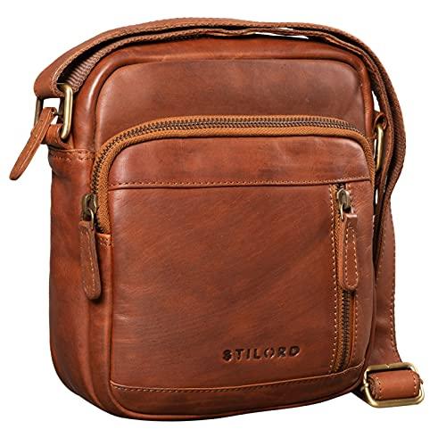 STILORD 'Zac' Tracolla Uomo Piccola in Pelle Vera Borsello Vintage Borsa per Moto in Cuoio Messenger bag Marrone, Colore:cognac/marron