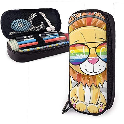 Gran Lindo león con Gafas de Sol Lindo bolígrafo Estuche para lápices Cuero 8 X 3.5 X 1.5 Pulgadas Capacidad Cremalleras Dobles Bolso para lápices Bolso Estuche para bolígrafo