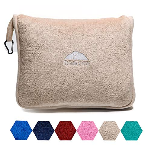 BlueHills Premium Soft Travel Blanket Pillow Airplane Blanket Packed in Soft Bag Pillowcase with Hand Luggage Belt and Backpack Clip, Compact Pack Large Blanket for Any Travel (Beige T005)