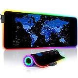 Titanwolf - RGB Gaming Mauspad - 800x300 mm - XXL Mousepad - LED Multi Color - 7 LED Farben plus 4 Effektmodi - für Präzision und Geschwindigkeit - Gummierte Unterseite - abwaschbar - Weltkarte blau
