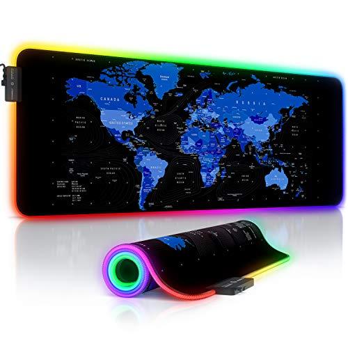 Titanwolf - Alfombrilla de ratón Gaming RGB - Mouse Pad 800x300 mm - LED Multicolor 7 Colores - 4 Modos de Efectos - Mejora Precisión y Velocidad - Superficie Inferior de Goma – Motivo Mapamundi Azul