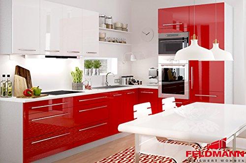 Unbekannt Küchenzeile Küchenblock 16893 L-Form 250 x 210 cm grau/rosenrot + weiß Hochglanz