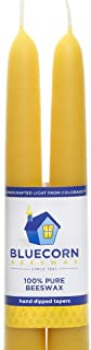 Bluecorn Beeswax 100% Pure Beeswax Tapers (2 Tapers) (Raw, 12