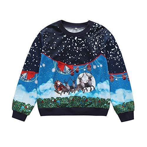 BOBORA suéter de Navidad para niños y niñas, Manga Larga, Sudadera de Navidad para niños de 5 a 9 años Azul...