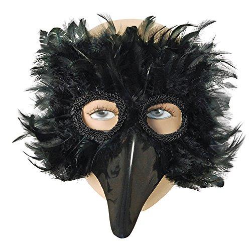 Bristol Novelty EM003 Augenmaske mit Vogel-Federn, Schwarz, Einheitsgröße