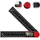 Koolertron Digital Angle Finder Protractor Ruler Digital Goniometer 200mm 360 °LCD Display Nylon Glass Ruler Meter Measuring Tool with Zeroing and Locking Function
